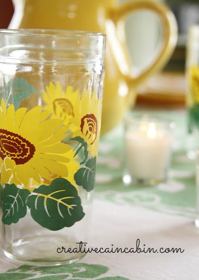 Vintage Sunflower Glass