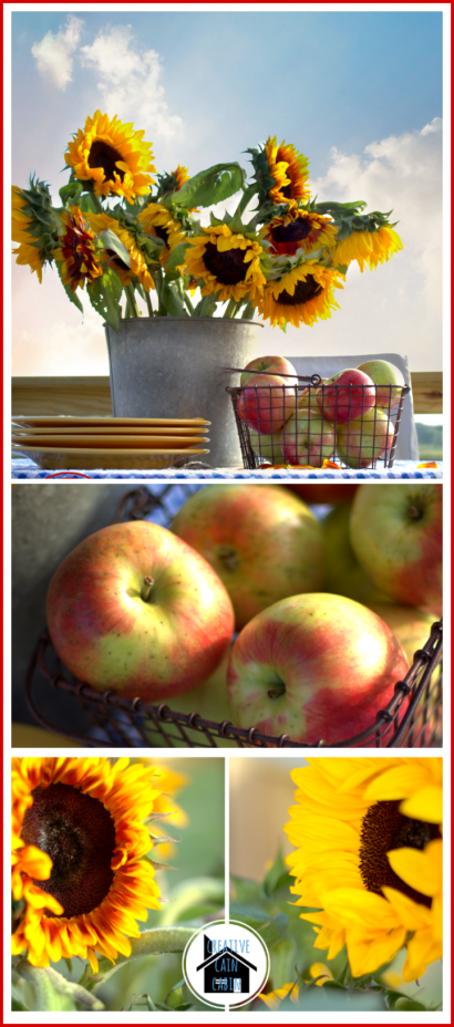 Fall Sunflower and Apple Tablescape
