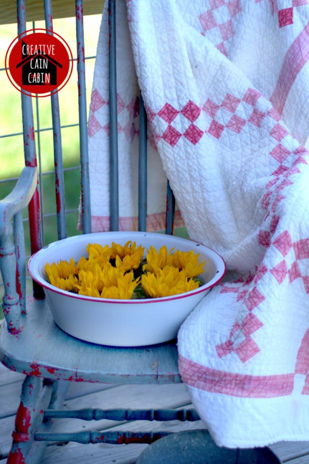 Enamelware Pan of Sunflowers