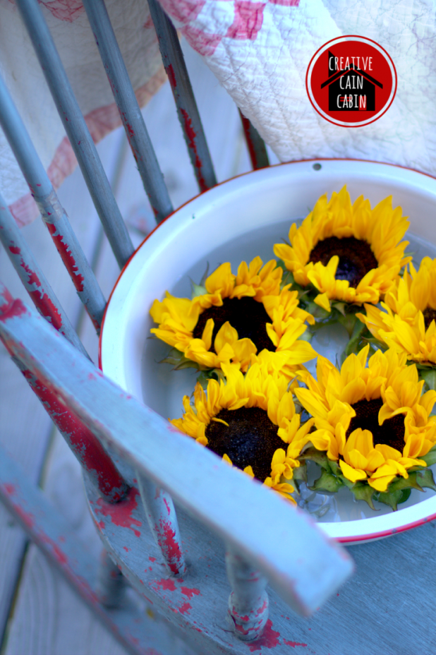 Enamelware Pan of Sunflowers in Rocking Chair