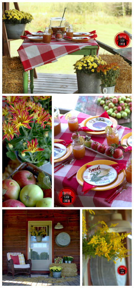 Fall Porch Decor with Mums & Apples