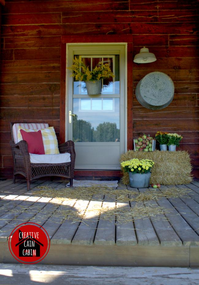 Fall Porch of a Log Home