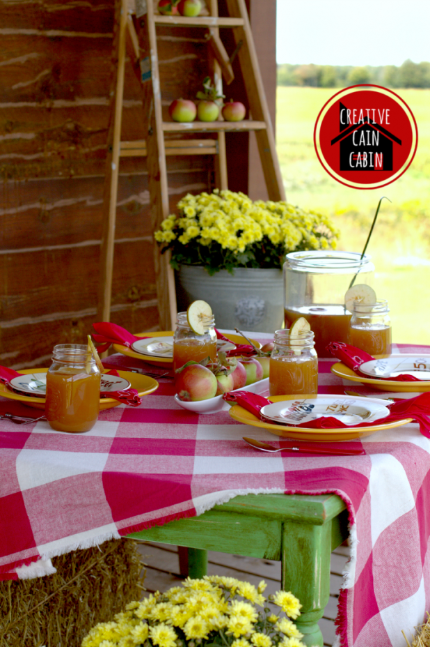 Fall Table on the Porch of a Log Home