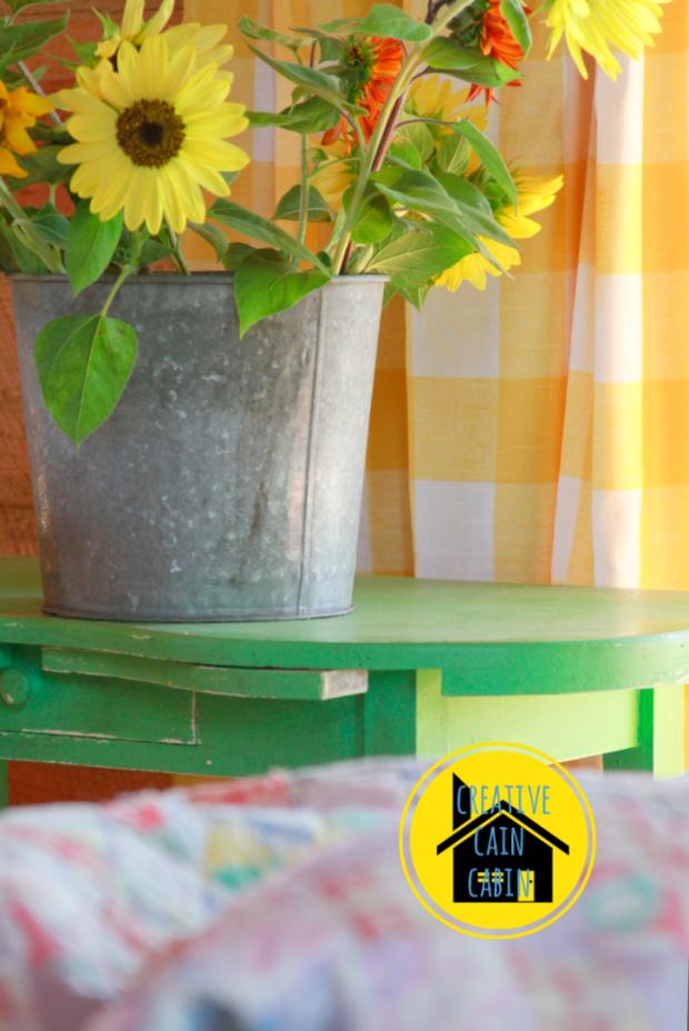 Galvanized Bucket with Sunflowers