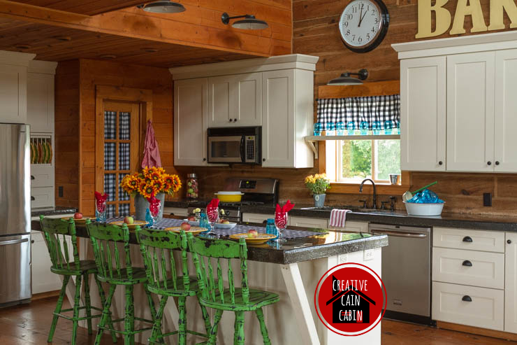 Log Home Kitchen In Fall