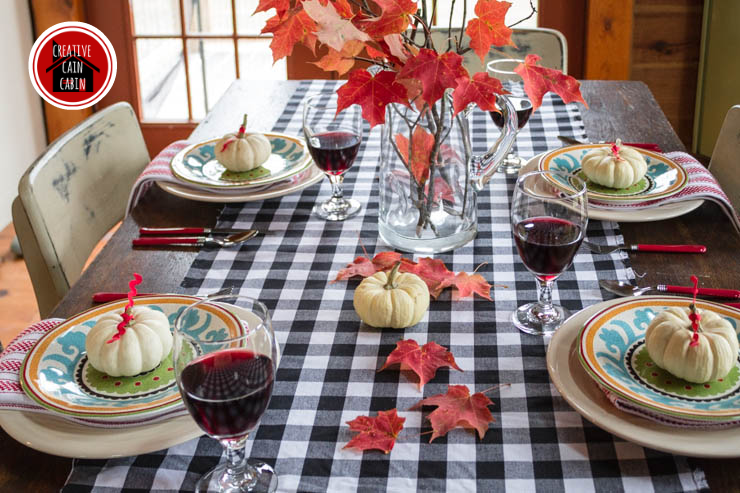 Fall Table with Gingham Runner
