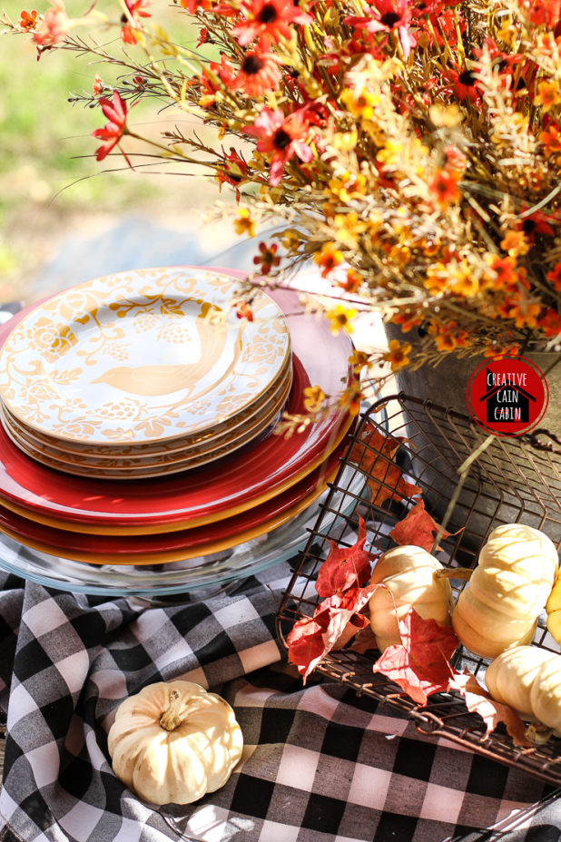 Gingham Table Cloth in Fall