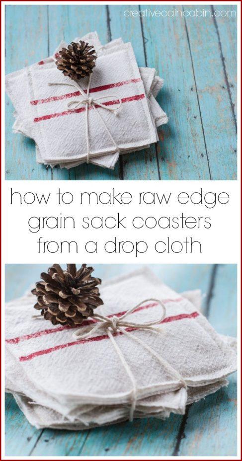 How to Make Faux Grain Sack Coasters
