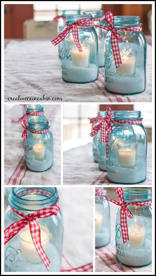 Mason Jar and Candle Centerpiece