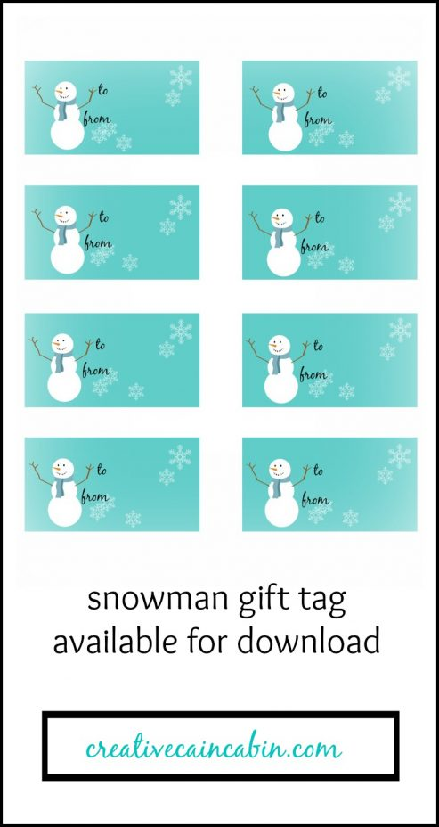 Snowman Gift Tag Printable