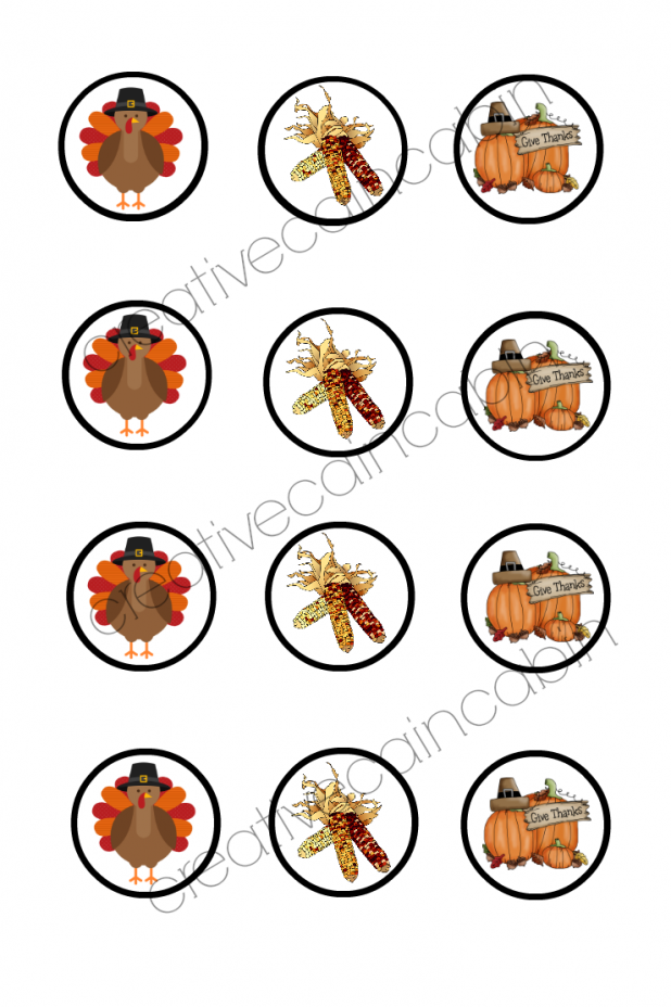 Thanksgiving Cup Cake Topper