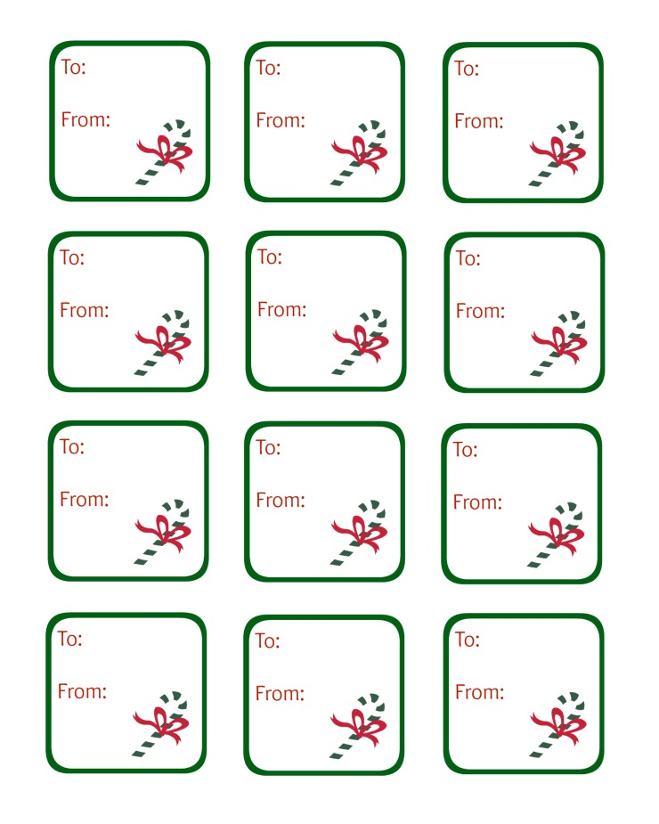 Candy Cane Gift Tag Printable
