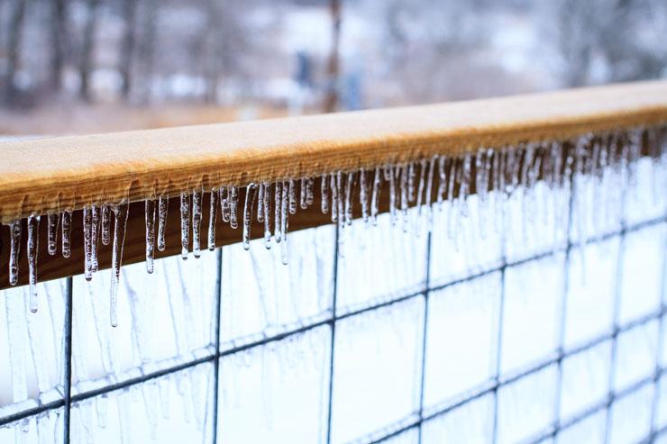 Ice on the railing
