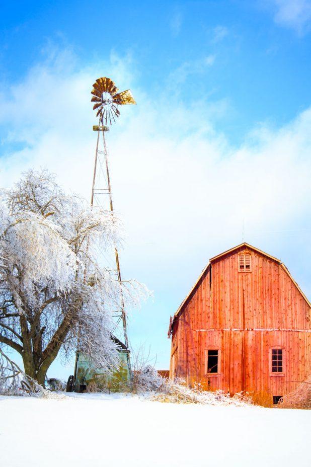 Barn and Windmill in Winter