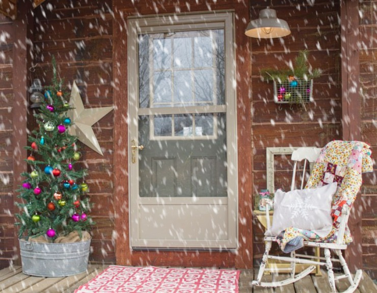 Winter Porch of a Log Home