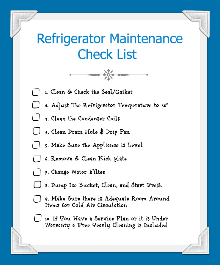 Refirgerator Maintenance Check List