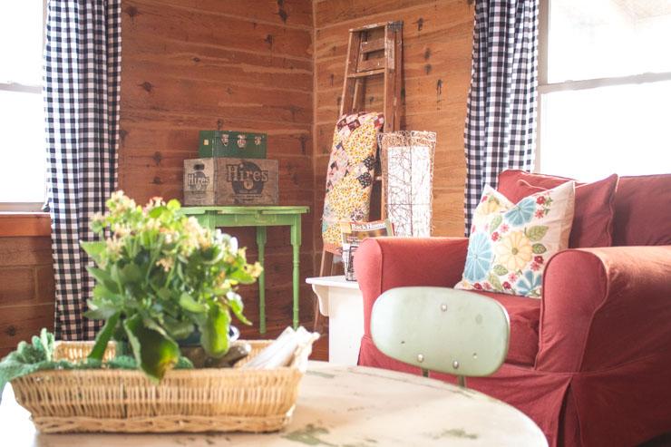 Living Room of a Log Home