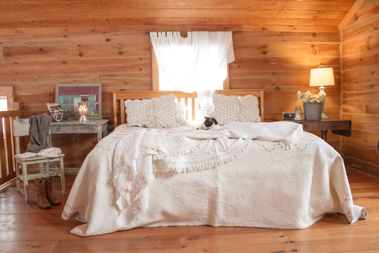 Bedroom in a Log Home