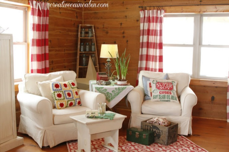 Red and White Buffalo Check Curtains