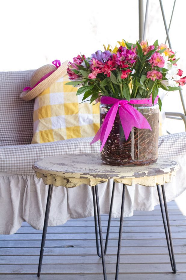 Porch Swing with Spring Flowers