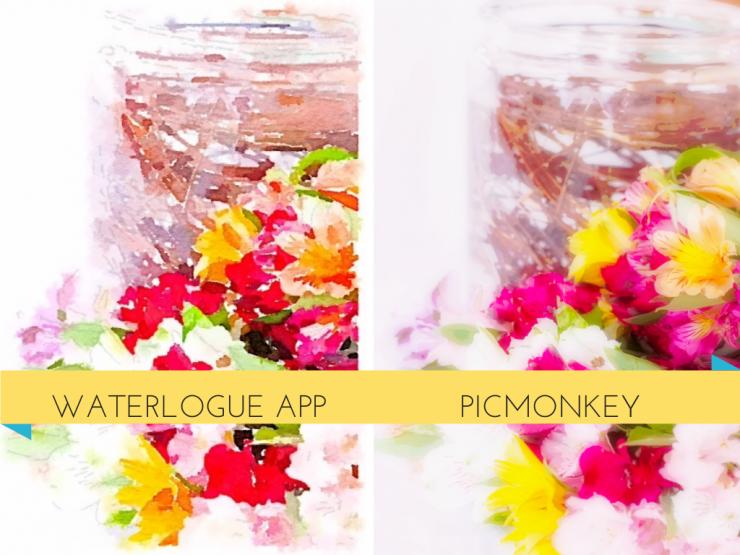 Waterlogue App vs PicMonkey