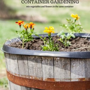 Whiskey Barrel Container Garden, Mix Vegetable and Flowers in the Same Container