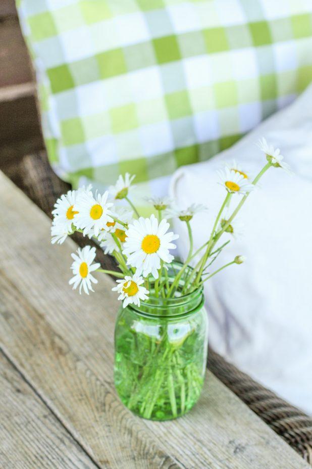 Wild Daisy's | Green Mason Jar | Buffalo Check Fabric |Creative Cain Cabin