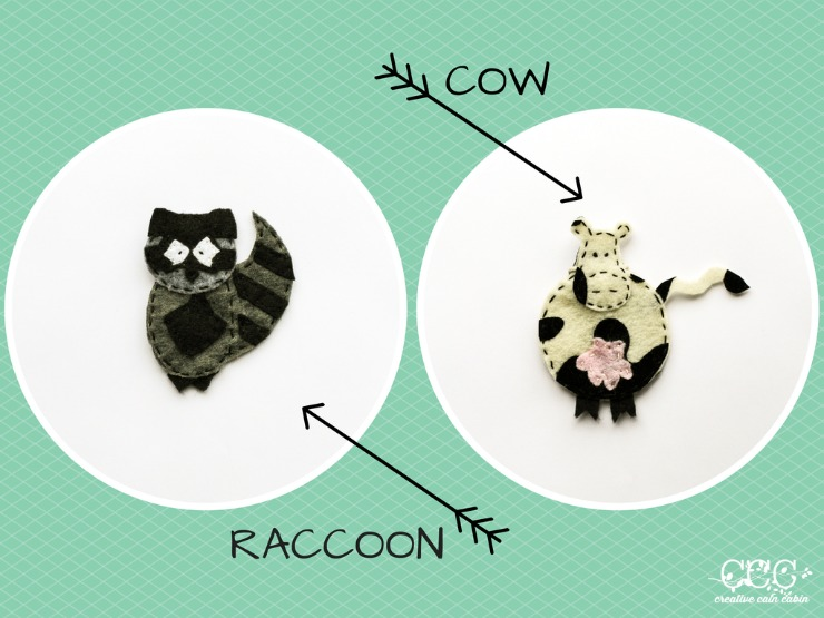 COW & RACCOON Felt Patterns | Creative Cain Cabin