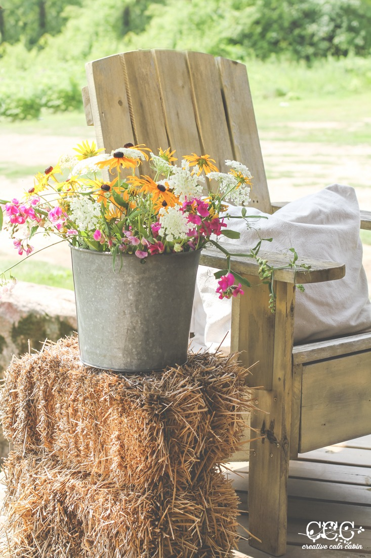 Galvanized Bucket of Flowers | Creative Cain Cabin
