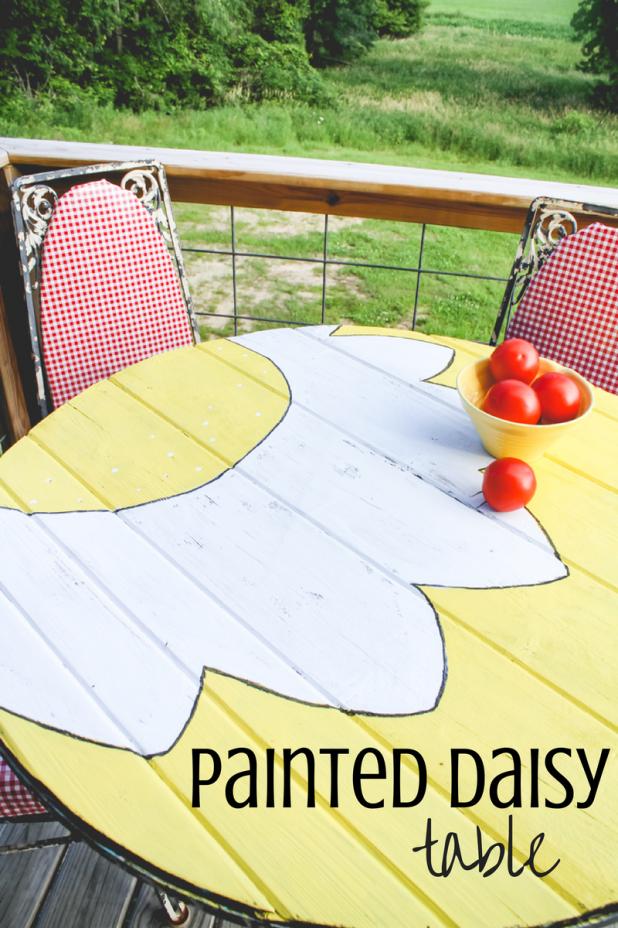 DIY Painted Daisy Table | Creative Cain Cabin