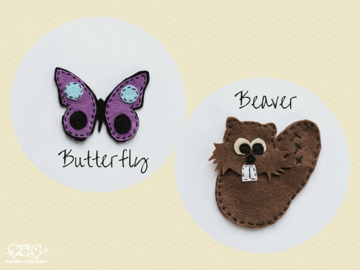 Butterfly and Beaver Felt Patterns | Creative Cain Cabin