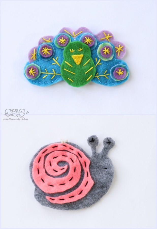 Felt Patterns | Peacock | Snail | Creative Cain Cabin