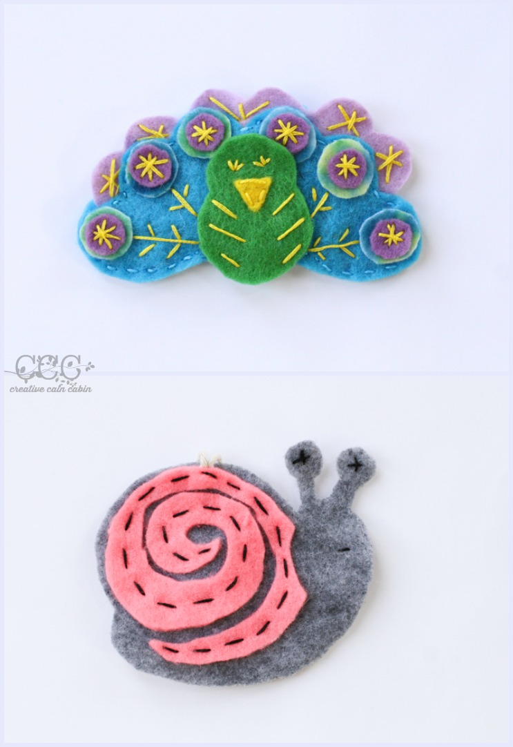 Felt Patterns | Peacock | Snail | Creative Cain Cabin