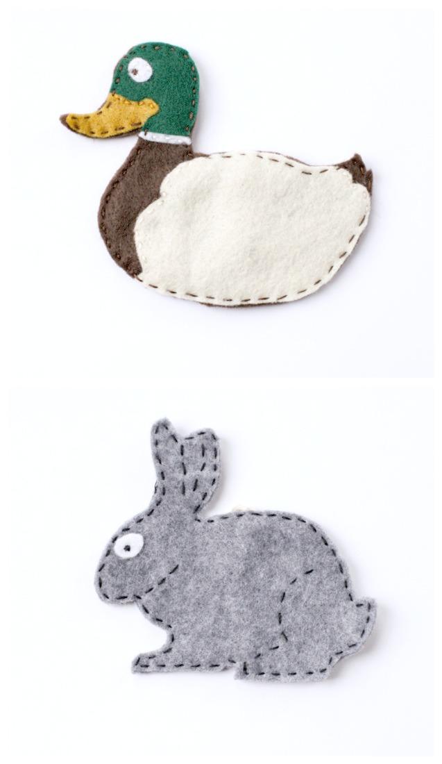 Duck and Rabbit Felt Patterns | creativecaincabin.com