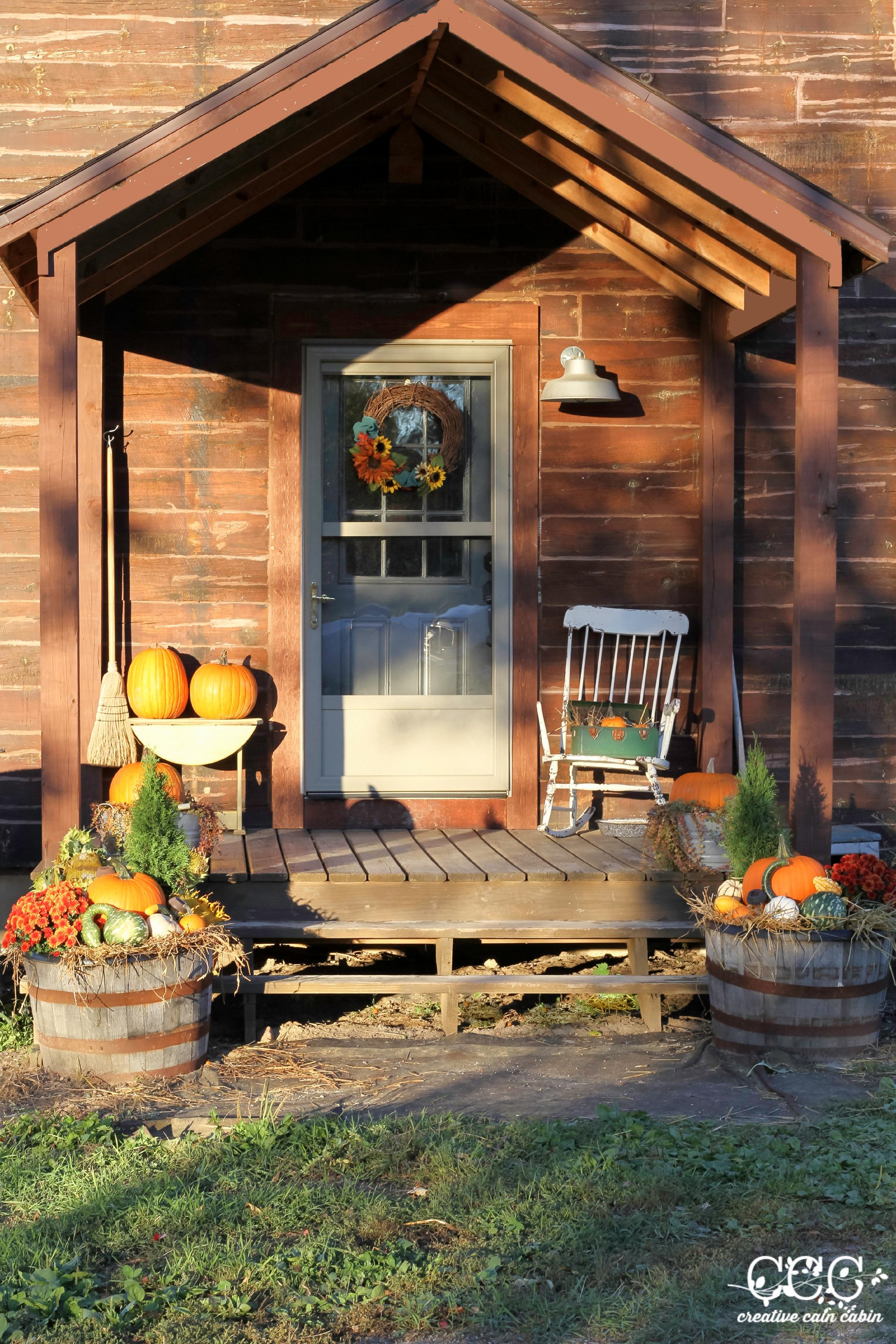 Rustic Fall Porch   Creative Cain Cabin