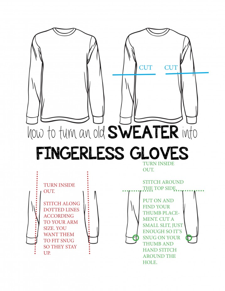 How to Make Fingerless Gloves From an Old Sweater - CREATIVE CAIN CABIN