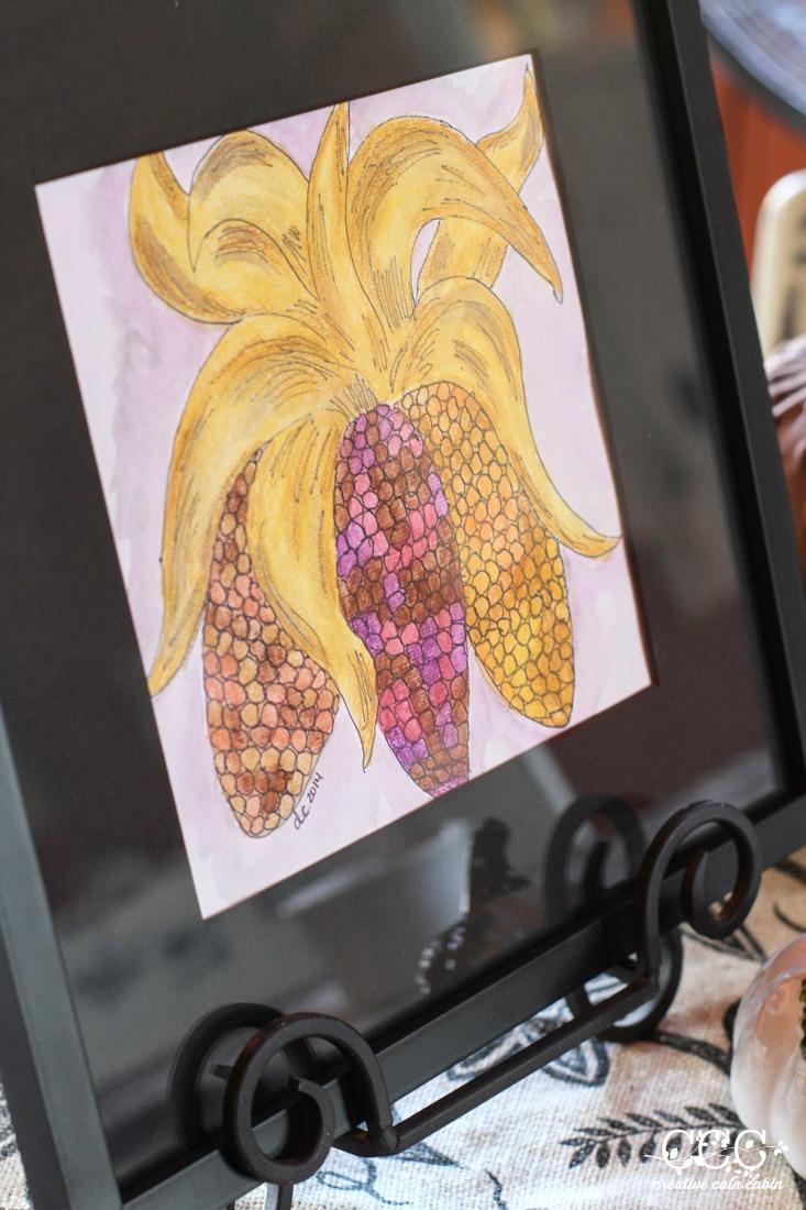 Fall Indian Corn Watercolor Creative Cain Cabin