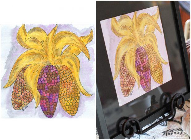 Fall Indian Corn Watercolor Art | Creative Cain Cabin