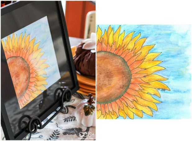 Fall Sunflower Watercolor Art   Creative Cain Cabin