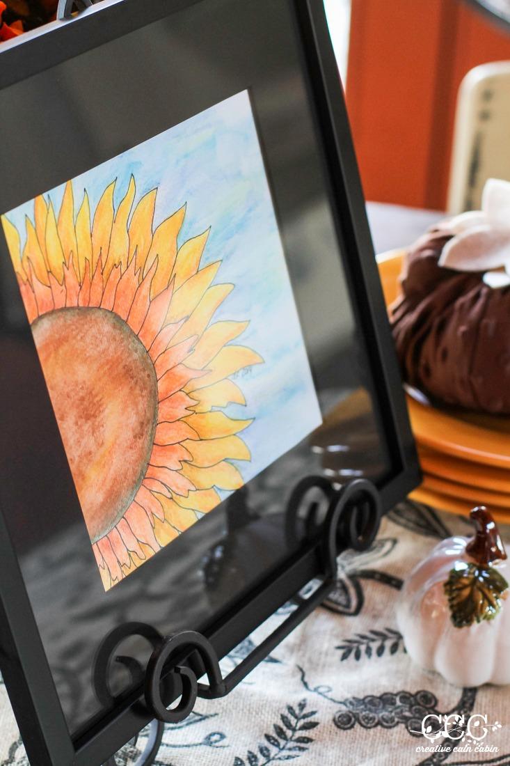 Fall Sunflower Watercolor | Creative Cain Cabin