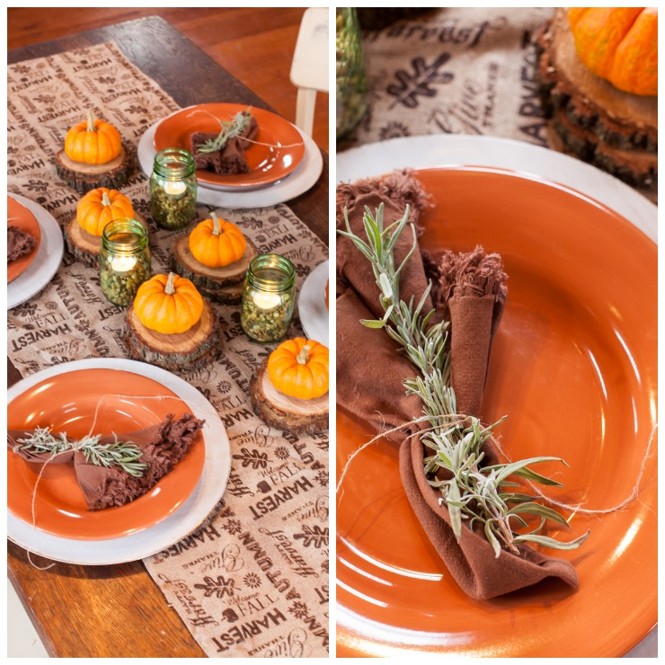 Easy Last Minute Thanksgiving Table Using Pebbles, Rosemary, Burlap, Wood, Pumpkins, and Candles   creativecaincabin.com