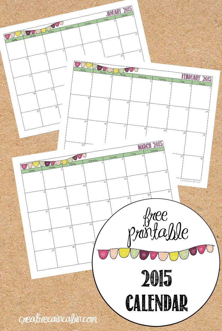 FREE 2015 Printable Calendar   CreativeCainCabin.com