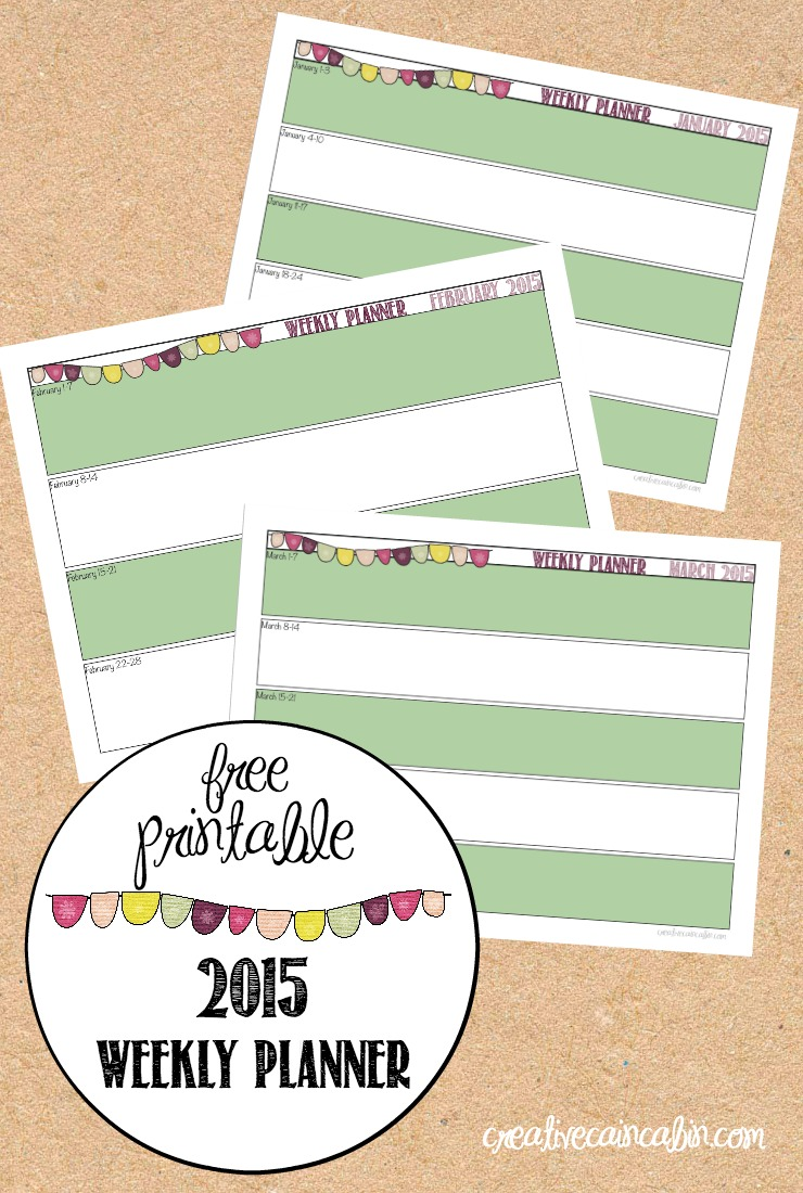 2015 Printable Weekly Planner | CreativeCainCabin.com