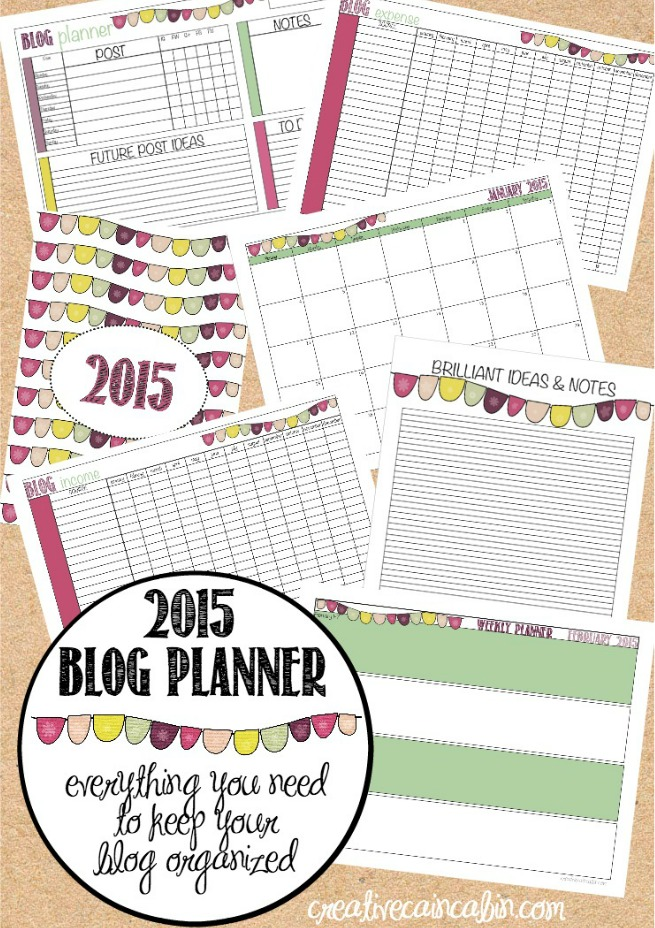 Complete Blog Planner 2015 | Includes 1 Year Calendar | I Year Weekly Calendar | Income and Expense Report | Blog Planner by the Week | Additional Notes Page | creativecaincabin.com