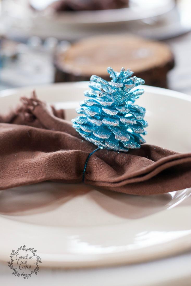 Glitter Pine Cone| Christmas Table | CreativeCainCabin.com