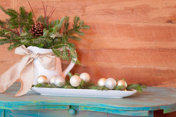 Christmas Entry Way Using Clippings From Your Tree | Don't Have the Nursery Trim Your Christmas Tree, Do it When You Get Home and Use the Branches to Create a Stunning Entry Way Display | creativecaincabin.com
