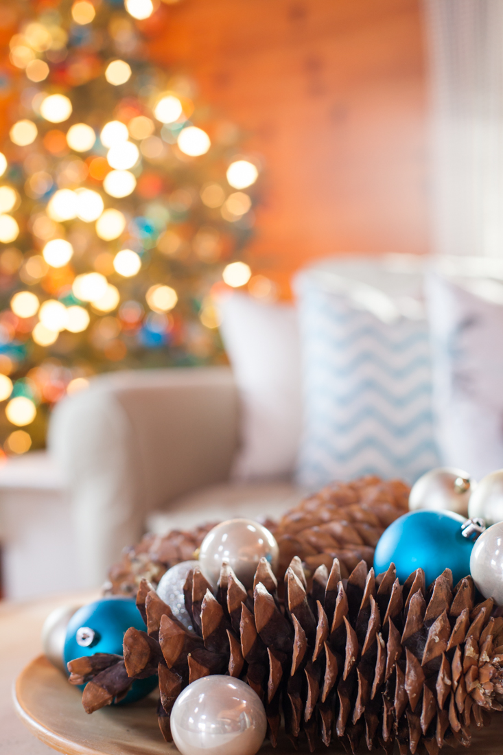 Christmas Tree Decorated Using Turquoise, Rust, and Blush Ornaments | CreativeCainCabin.com