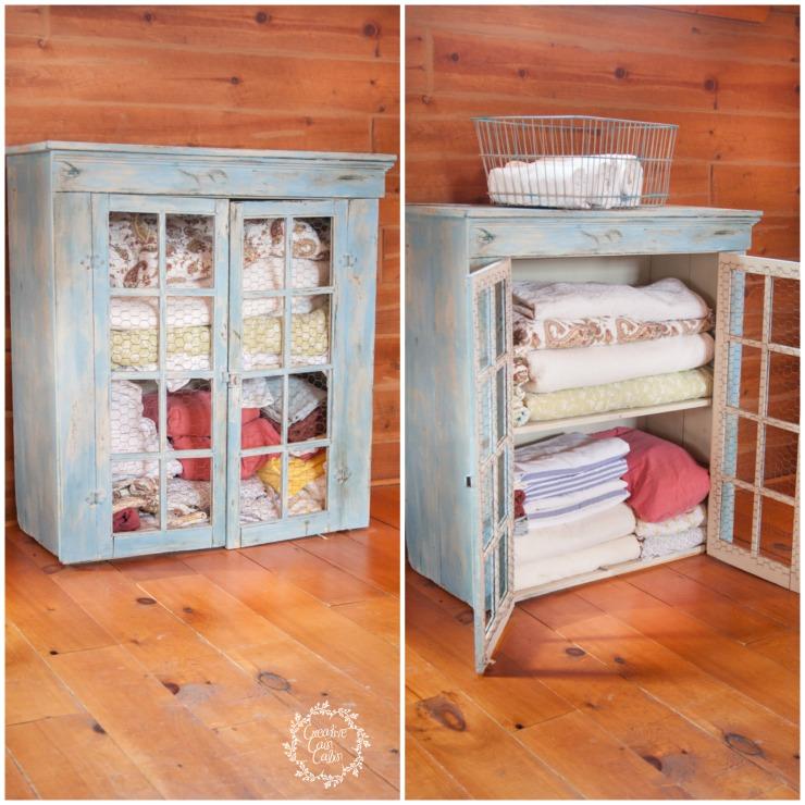 Linen Cabinet Before & After | Creativecaincabin.com