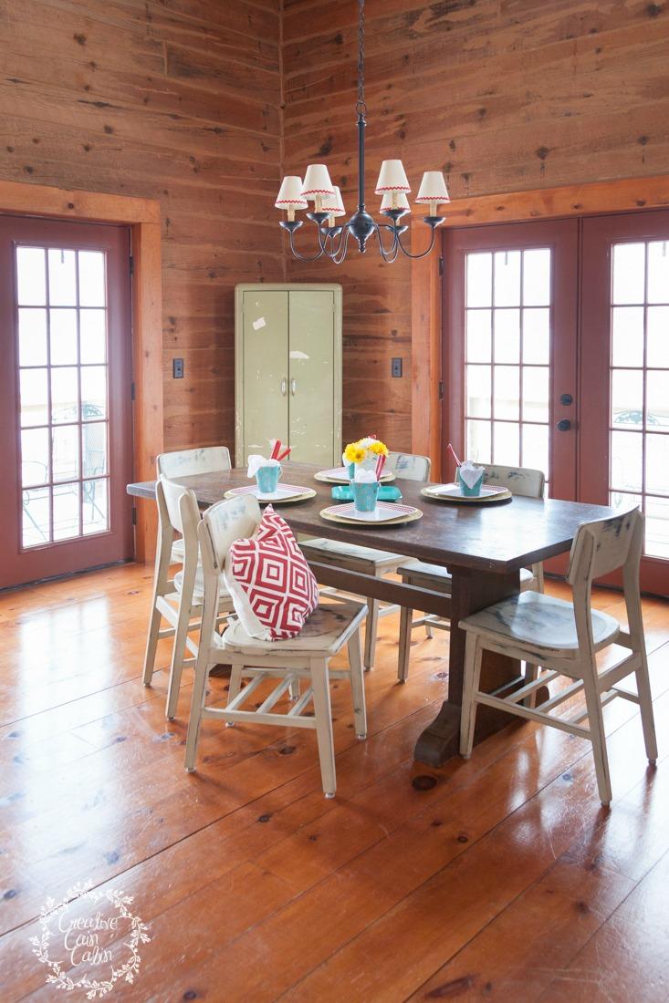 Melamine Table Setting in a Log Home   CreativeCainCabin.com