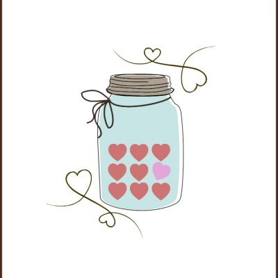 Valentine Candy Heart Mason Jar Printable |CreativeCainCabin.com